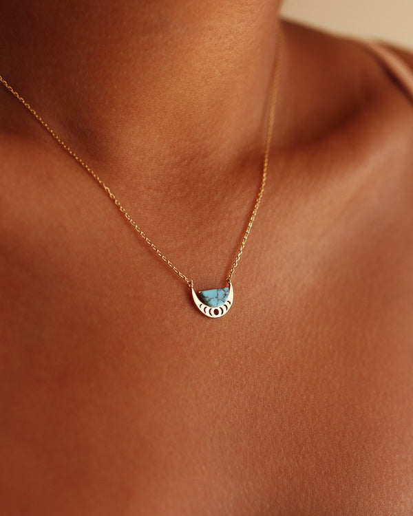 Crescent Moon Necklace - Turquoise - Serei Swim