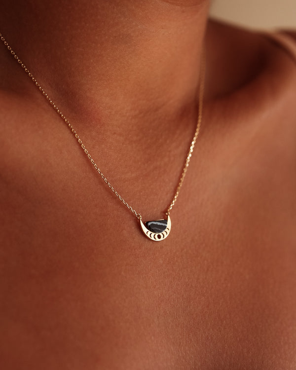 Crescent Moon Necklace - Black Marble - Serei Swim
