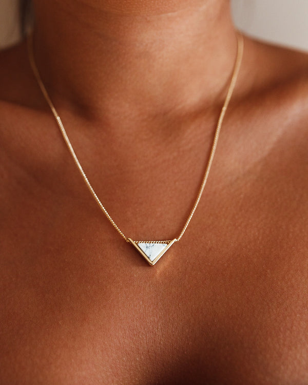 Triangle Necklace - White Marble