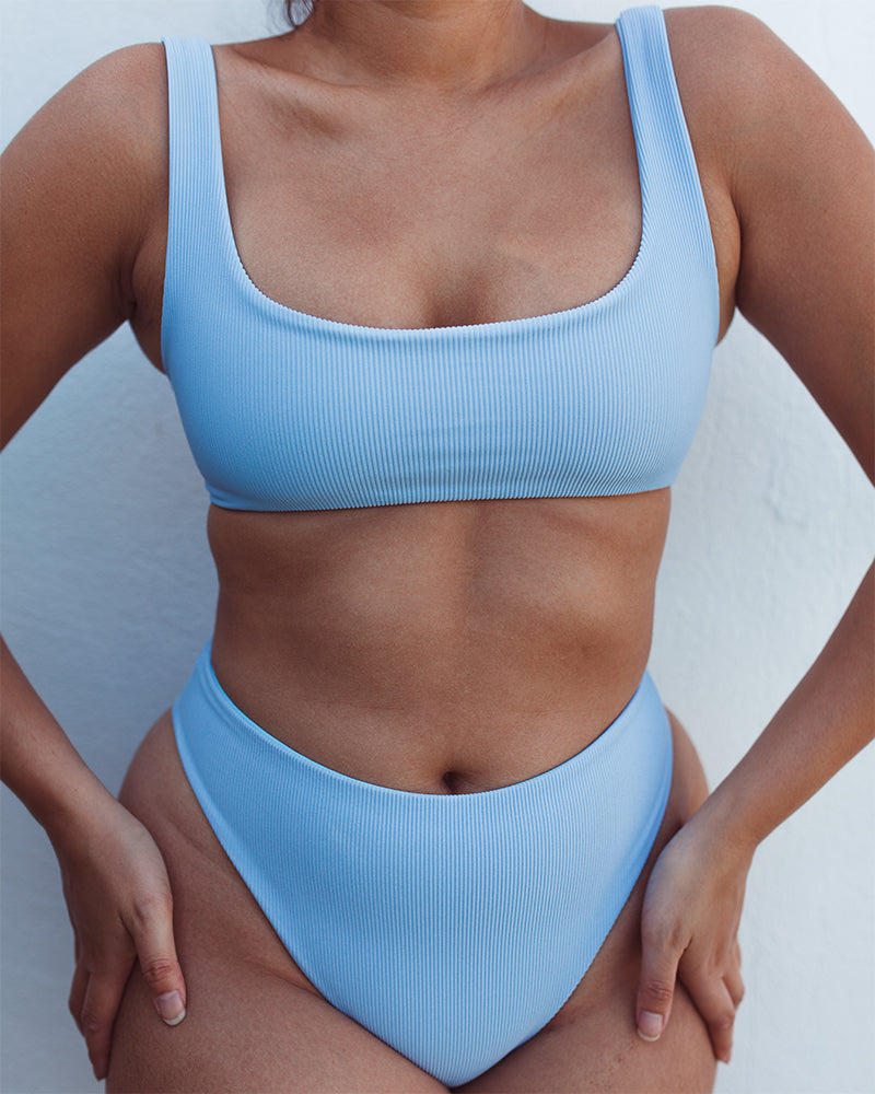 DARA Scoop Neck Bikini - Ribbed Ice Blue