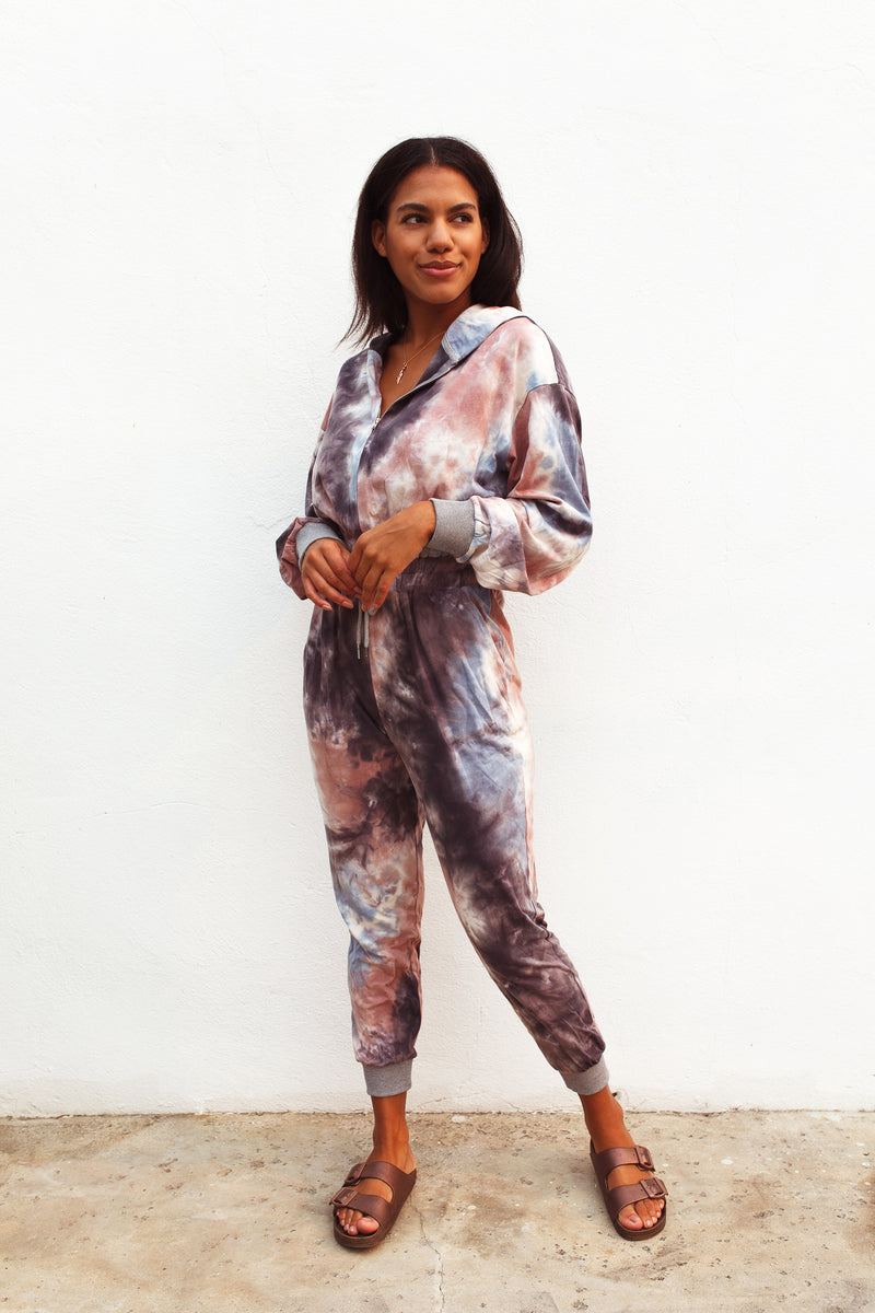 Blue Tie Dye Zip-Up Jumpsuit