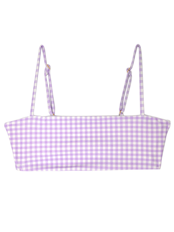 TEVVY top - Purple Gingham - Serei Swim