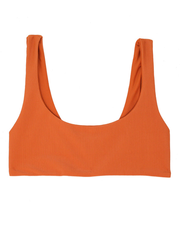 DARA Scoop Neck Bikini - Ribbed Papaya