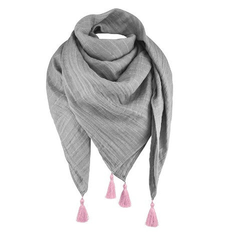 Muslin scarf with tassels
