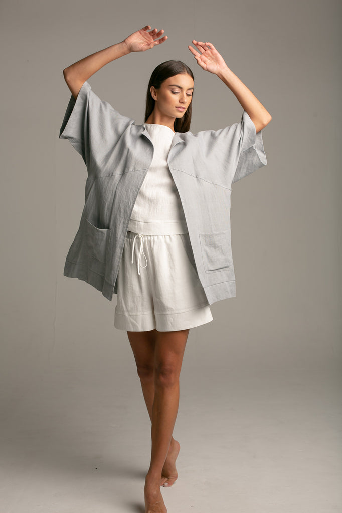 Linen coat / Polar Grey