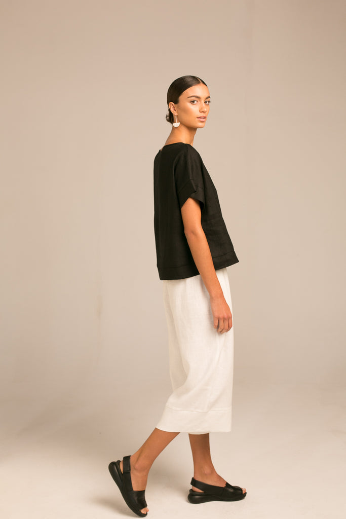 Drop shoulder top / Black