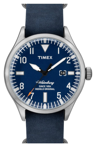 Timex® - 'Waterbury' Leather Strap Watch, 40mm - shop on Greybox