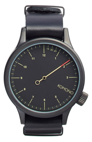 Komono - 'Magnus The One' Round Leather Strap Watch, 46mm - shop on Greybox
