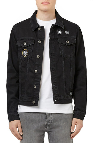 Topman - Black Denim Jacket with Patches - shop on Greybox