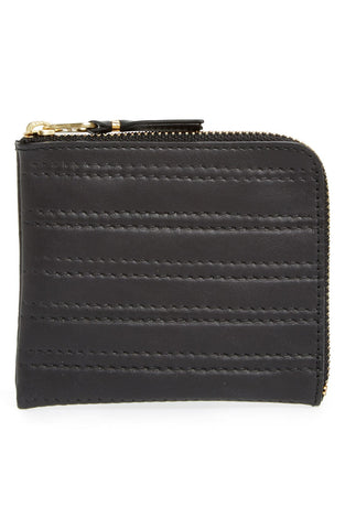 'Embossed Stitch' Leather Half Zip French Wallet