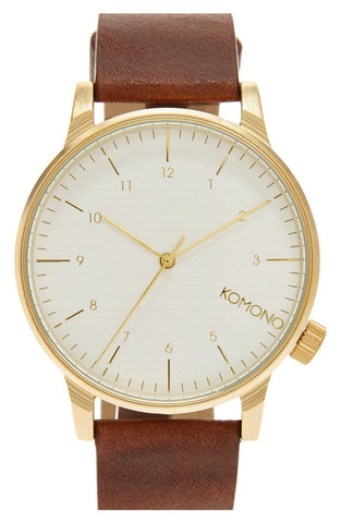 Komono - 'Winston' Round Dial Leather Strap Watch, 40mm - shop on Greybox