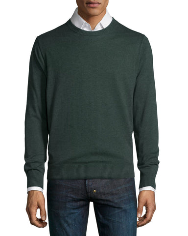 Cotton-Blend Crewneck Sweater, Green