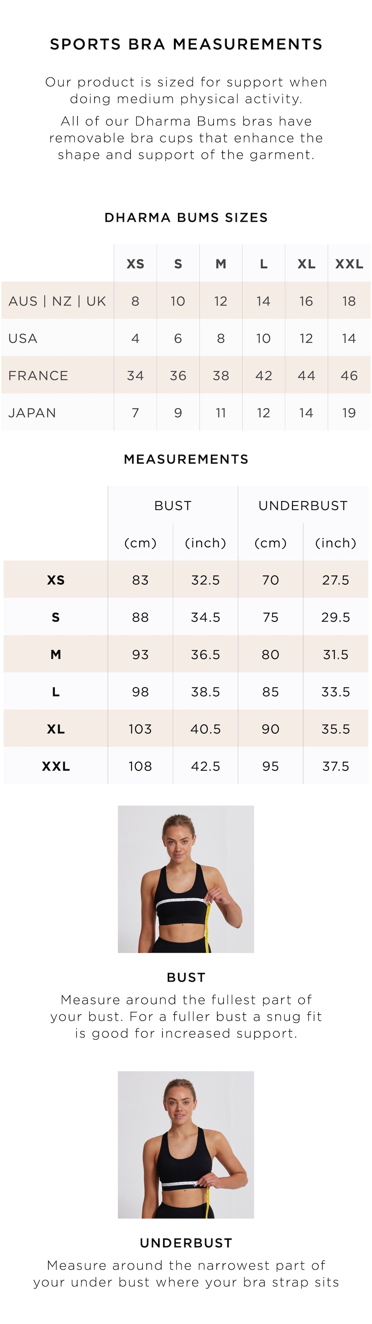 Sports Bras Size Guide