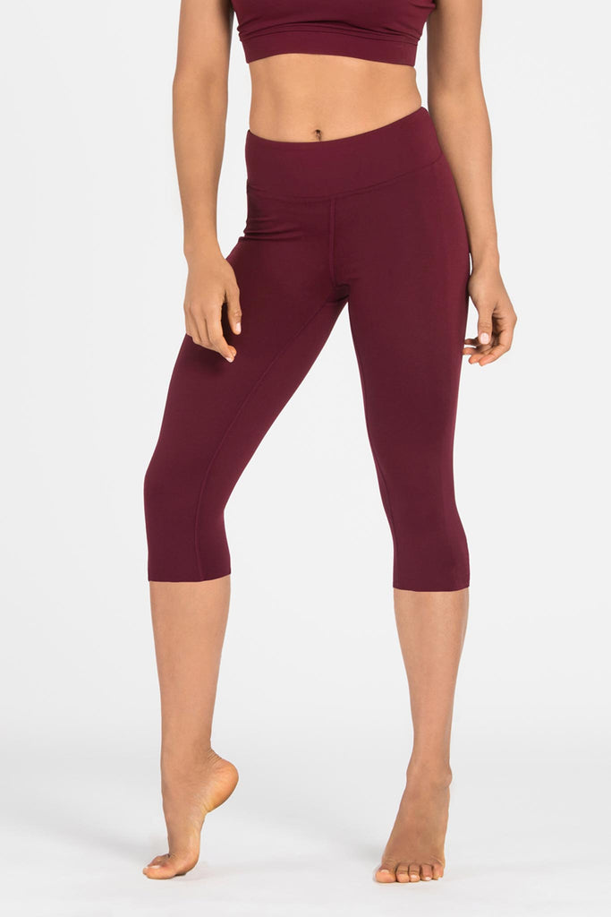 Plain Wine Crop Activewear Legging