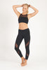 Black Front Mesh Panel Activewear Legging - 7/8
