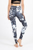Black Rose High Waist Printed Yoga Legging - Full Length