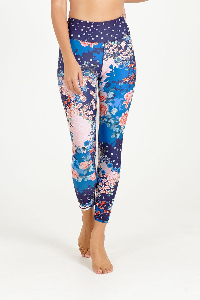 Orient Blue High Waist Printed Legging - 7/8