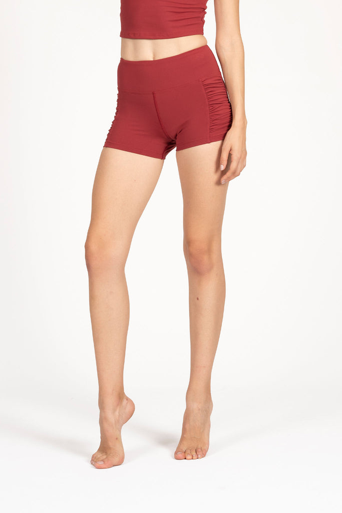 Kinetic Side Rouched Short - Cherry