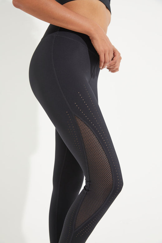 Meridian Laser Cut Ankle Legging - Black