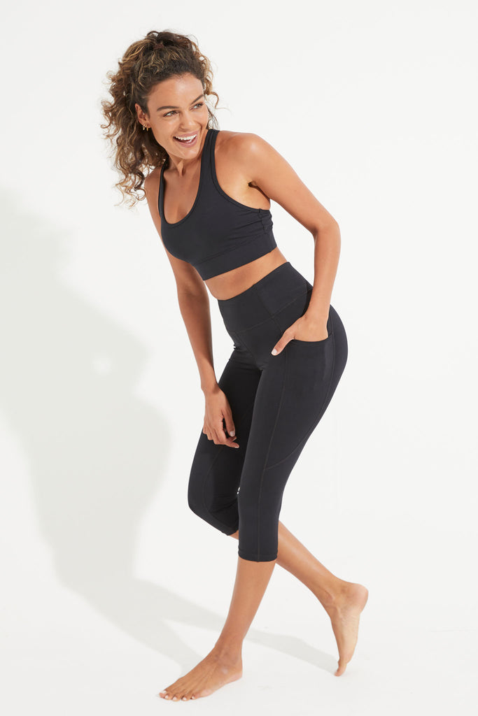 Wonder Luxe Byron Pocket Legging Crop - Black