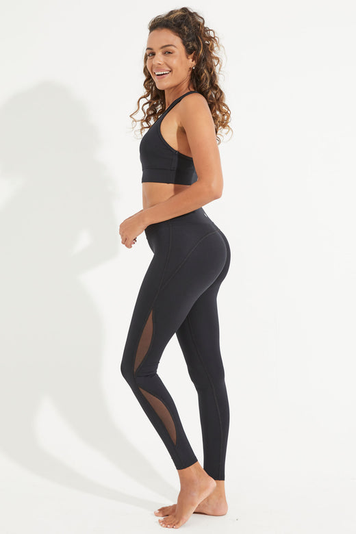 Ignite Mesh Full Length Legging - Black