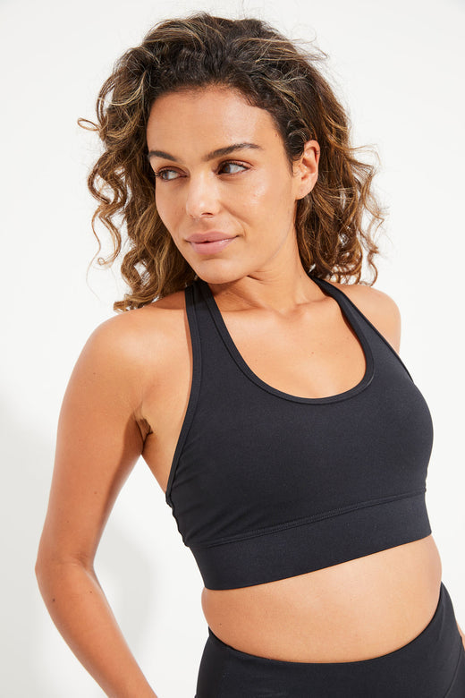 Racer Back Sports Bra - Black