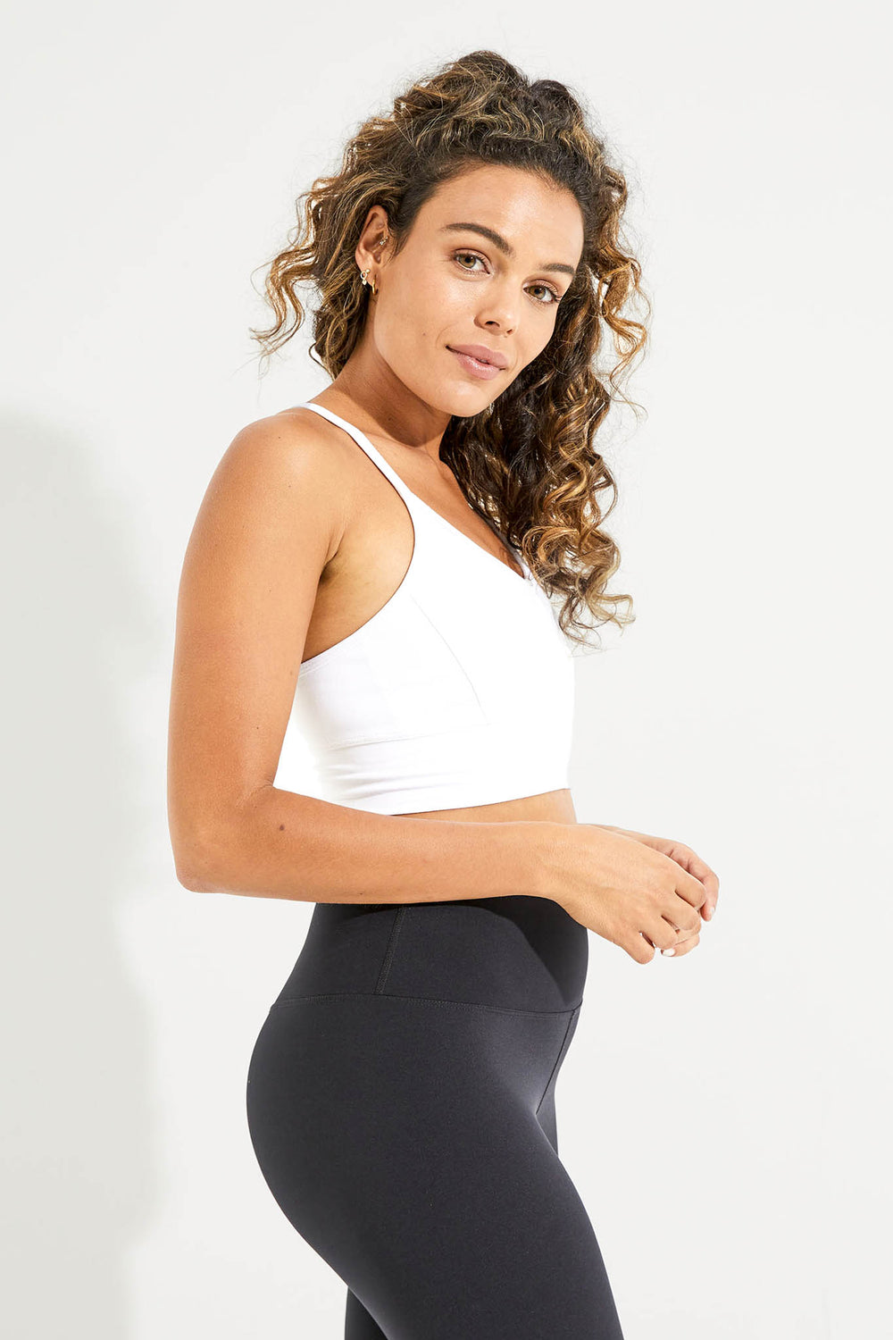 Wonder Luxe Ellis Crop Sports Bra - White