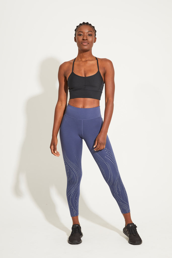 Spiral Foil Recycled High Waist Printed Legging 7/8 - Indigo