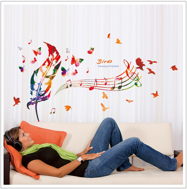 Creative Music Feather Wall Decal Diy Children S Room Kindergarten Classroom Mural Painting Stickers