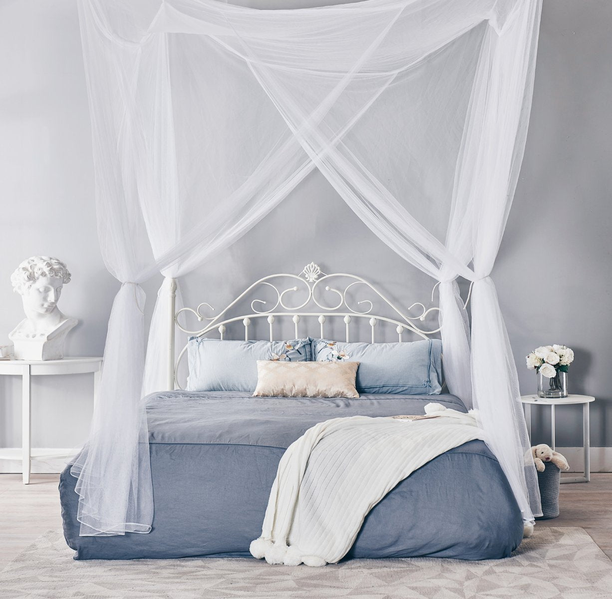 truedays four corner post bed princess canopy mosquito net full queen truedays. Black Bedroom Furniture Sets. Home Design Ideas