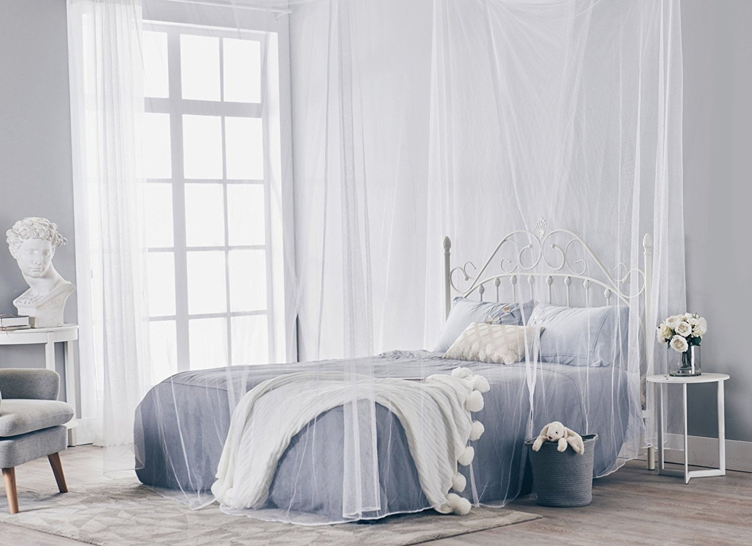Truedays Four Corner Post Bed Princess Canopy Mosquito Net Full Queen King Size