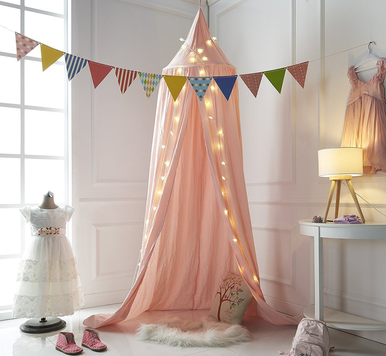 ... Dome Princess Bed Canopy Bed Curtain Mosquito Net For Children Room  Decoration,(Grey) ...