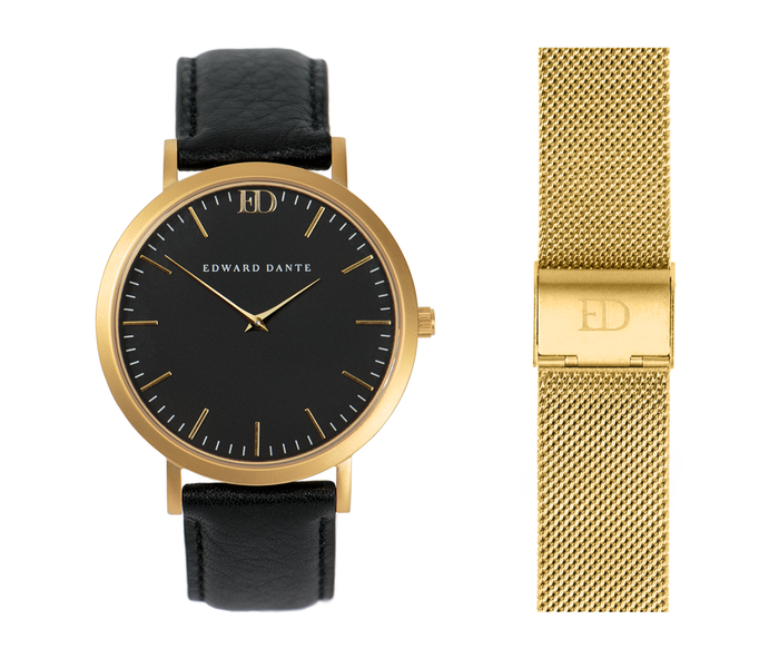 Gold & Black Watch Set