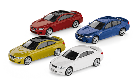 BMW M Car Collection Set. (1 Series Coupe, M4 Coupe, M5, M6 Coupe)
