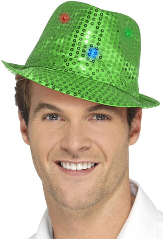 Green Light Up Sequin Trilby