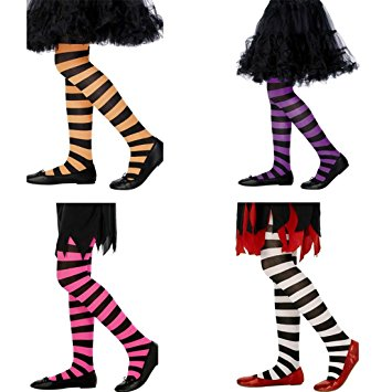 Kids Striped Halloween Tights