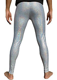Men's Silver Shiny Leggings