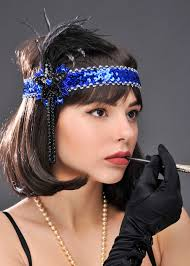 Sequin Flapper Headband - Blue or Black