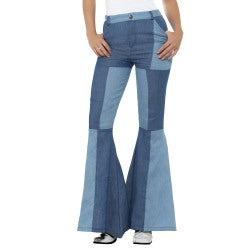 Patchwork Denim Flared Trousers
