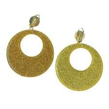 60's Gold Glitter Earrings