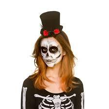 Day of the Dead Mini Top Hat with Flowers