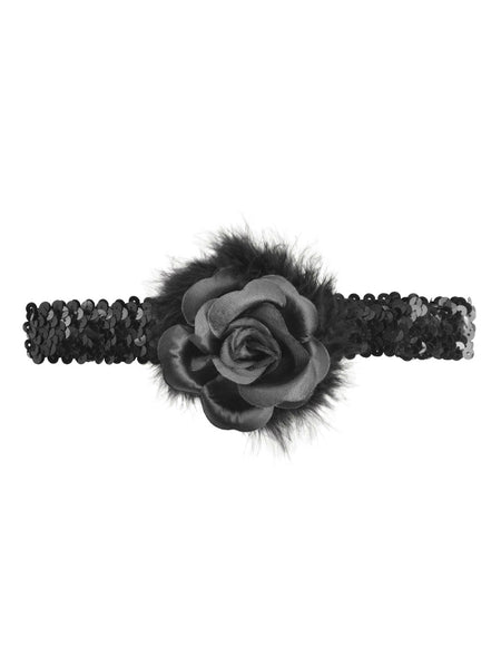 Black Rose Flapper Headband