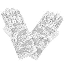 Short White Lace Gloves