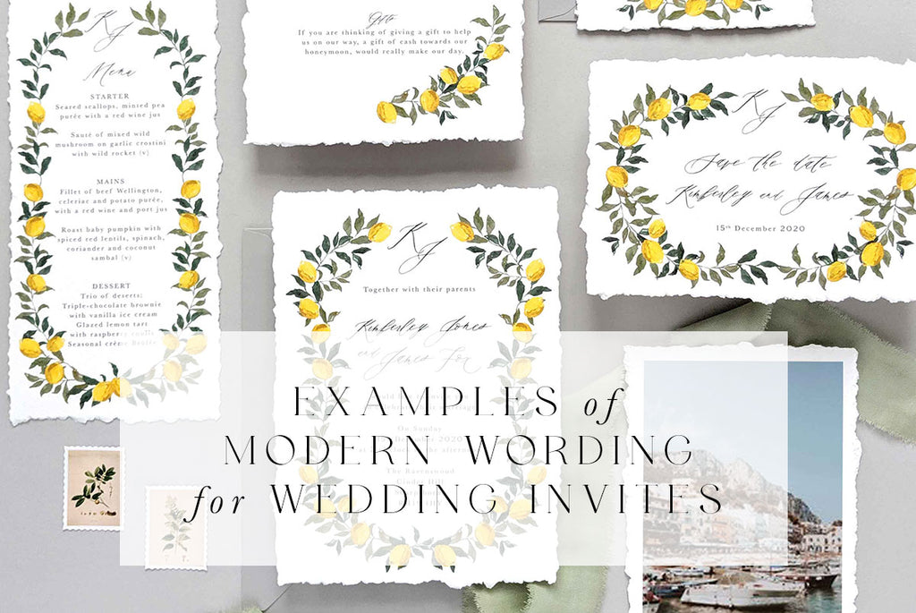 Examples for modern wording for wedding invites