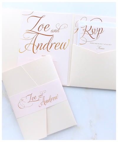 baby pink wedding invitation package