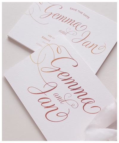 blush and gold wedding invite