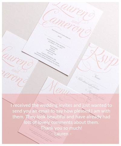 blush and pink wedding invites