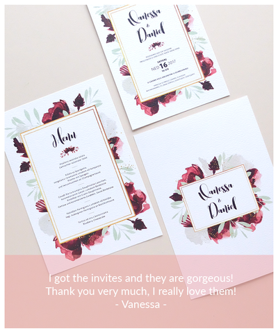 Burgundy and gold wedding invite