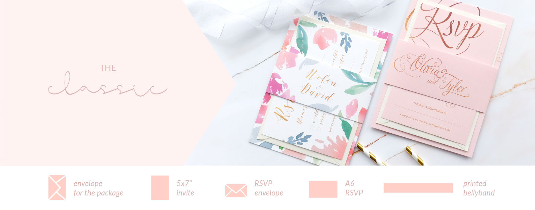 Classic Wedding Invitation Packages – Blush and Gold