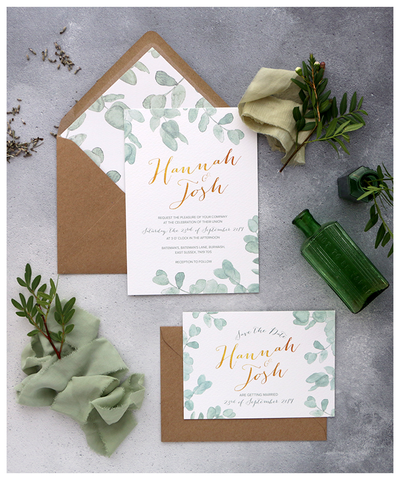 gold and leafy wedding invite